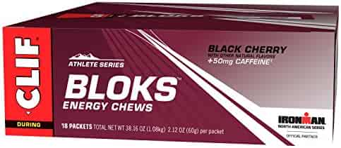 CLIF BLOKS - Energy Chews - Black Cherry - With Caffeine (2.1 Ounce Packet, 18 Count)