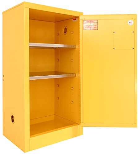 SECURALL P120 Paint/Ink Storage Cabinet, 15 YR Warranty, 44 x 24 x 18, 18-Gauge Steel, 2-Door, 20-Gal Capacity, 2-Adj Shelves, FM Approved, SMaRT Certified, OSHA Comp. - Yellow