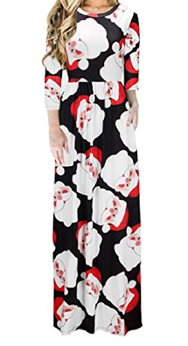 Pattern2 Party Stylish Print milu Long Christmas Women Dress Snowman Digital Coolred w0qHvxTY