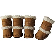 PET LIFE 'DUGGZ' Shearling 3M Insulated Sherpa linned Fashion Designer Pet Dog Shoes Boots Booties, Medium, Brown & White