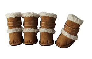 "Shearling ""Duggz"" Pet Shoes, X-Small, Brown & White"