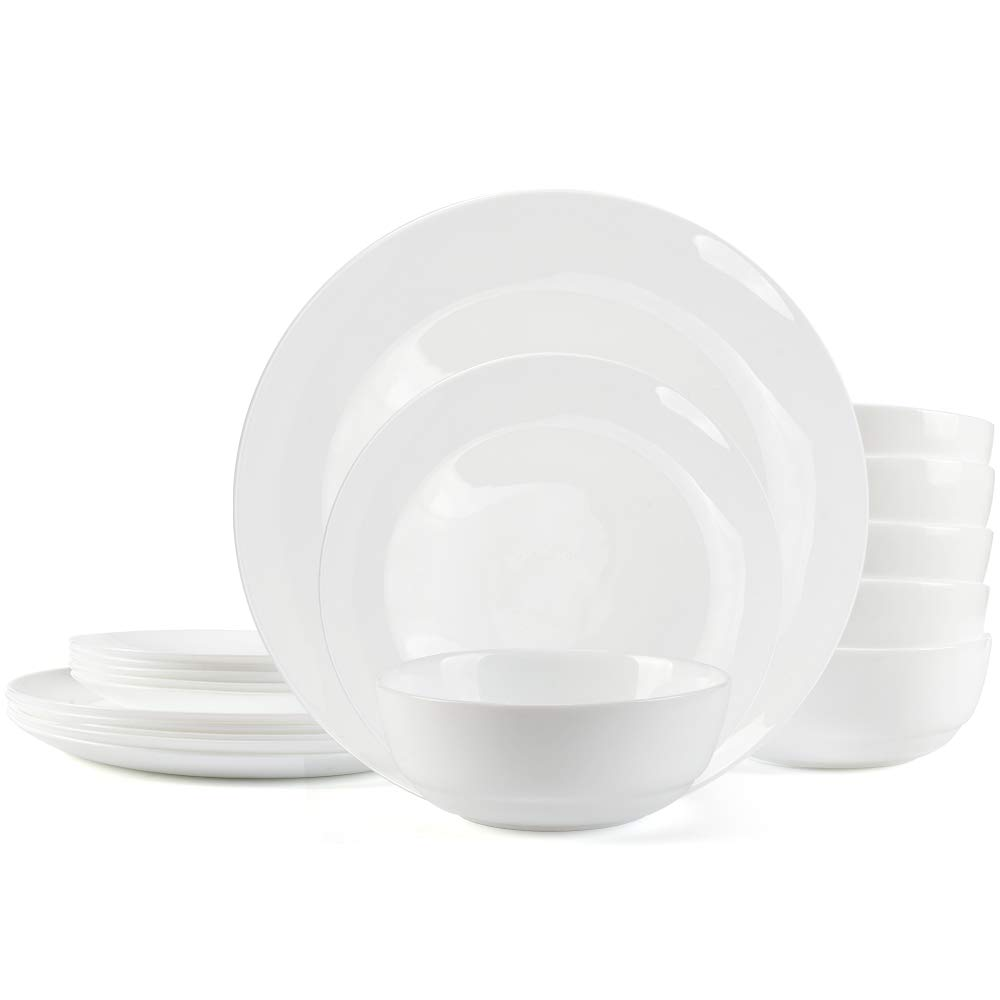 Dinnerware Set Danmers 18-piece Opal Dishes Sets Service for 6 Plates Bowls Break and Crack Resistant Dish Sets