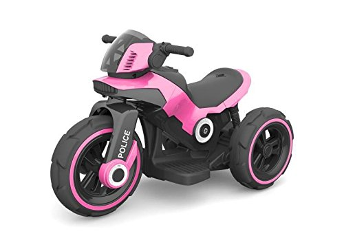 Ride-on Toys Electric Police Tricycle Bike 6v Motor with Aux Plug for Music, Pink, 29 x 16