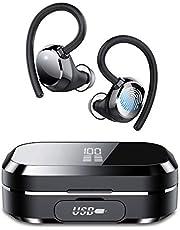Tiksounds Bluetooth hoofdtelefoon, in-ear koptelefoon, met digitale weergave, 150 uur speeltijd, IPX7 waterdicht, hoofdtelefoon draadloos met CVC8.0 ruisonderdrukking, voor sport en werk