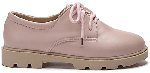 Low Heel Round Oxfords Low Summerwhisper Lace Platform Womens Toe up Shoes Top Pink Casual wpHHUIqz
