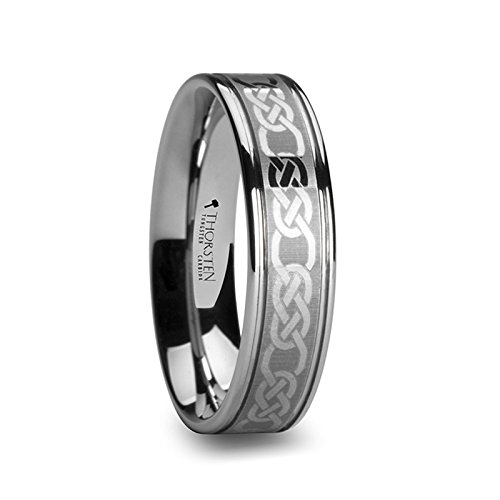 - PALATINE Celtic Pattern Laser Engraved Tungsten Wedding Band - 6 mm - FREE Engraving, FREE Expedited Shipping & FREE
