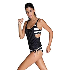 Dokotoo Womens Stripes Lined Up Double Up Tankini Top Bikini Swimwear,(US 10-12)L,Black