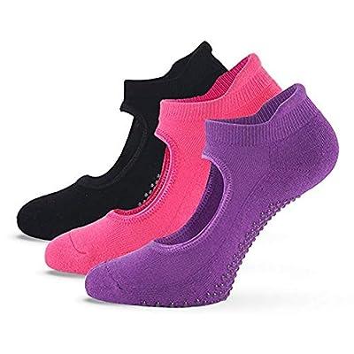 Fitglam Yoga Socks for Women – Best Grip Non-Slip Cotton Socks for Barre Pilates and Ballet