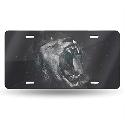 "FCARPLATE Roaring Lion Personality Vehicle Decoration Auto Car Aluminum License Plate Bike Card 6"" X 12"" Metal Decorate for Room Gate Door Bicycle Motorcycle Truck,License Plate"