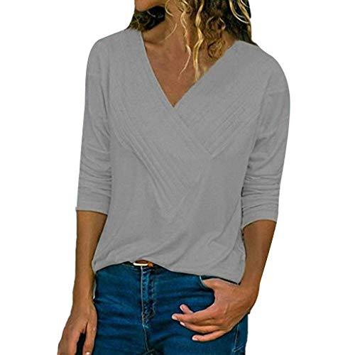 HIRIRI V-Neck Women's Casual Blouse Long Sleeve Pleat Tank Crop Tops Solid Color Soft Shirt Gray