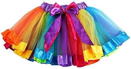 PinkLu Falda De Malla De Arco Iris De Siete Colores NiñAs NiñOs Enagua Arco Iris Pettiskirt Falda Bowknot Vestido Tutu De Baile Ropa