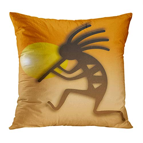Vooft Throw Pillow Cover Home Sofa Living Room Hidden Zipper Decor Square 16 x 16 Inch Kokopelli Most Intriguing Widespread Image Native Pattern Background Decorative Cushion Cover Pillowcase