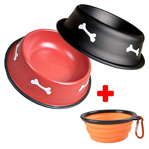 Dog Bowls, Stainless Steel Bowl Set with Collapsible Pet Bow