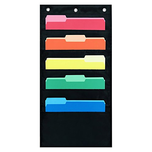 - 5 Pocket Compact Storage Pocket Chart, Hanging Wall File Organizer by Essex Wares - Organize Your Assignments, Files, Scrapbook Papers & More (Black)