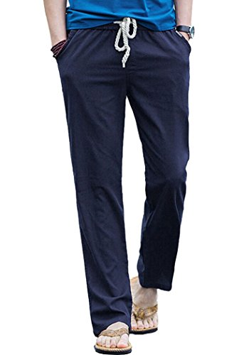 (Men's Cotton Linen Lightweight Solid Casual Pants Dark Navy Asian)