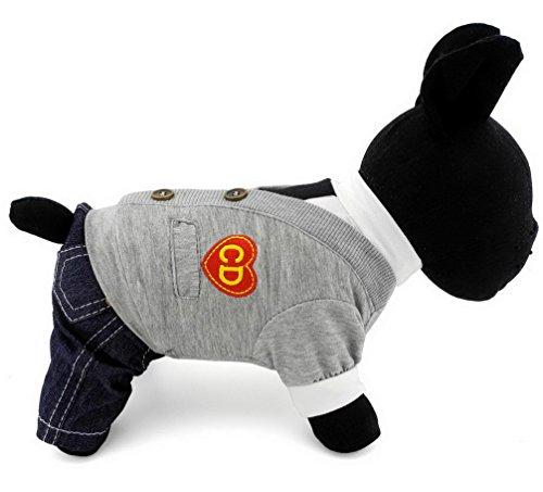 Ranphy Small Dog Cat British Style Outfit Denim Pants Pet Jumpsuit Poodle Pajamas Summer Autumn Shih Tzu Clothes Grey S (Pajamas British)