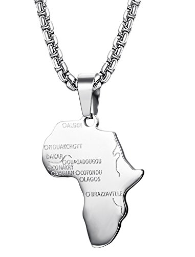 Jstyle Stainless Steel African Map Necklace Pendant for Men Women Rolo Chain 24 Inch