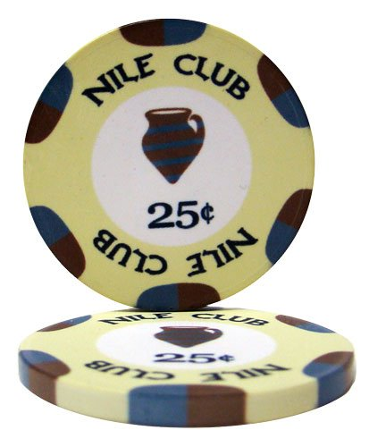 - Nile Club Casino Grade Ceramic 10-gram Poker Chip – Pack of 50 ($0.25)