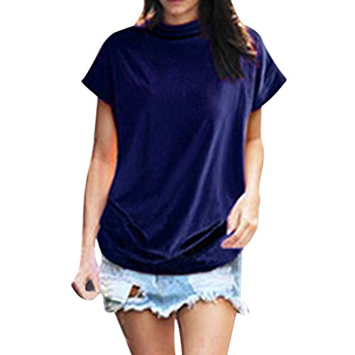 - Adeliber Women's high Collar Casual Short-Sleeved Cotton Solid Color Shirt T-Shirt Tops Large Size Blue