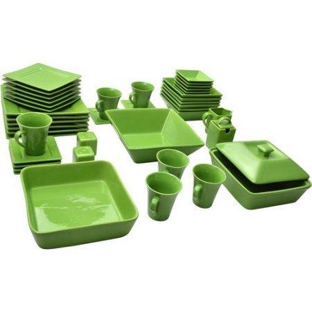 10 Strawberry Street Nova Square Banquet 45-Piece Dinnerware Set (Teal) -
