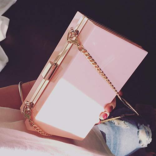 Pink Clutch Women Cross Through Bag Evening Acrylic Body Evening Purse Box Handbag Transparent Cute Clear Bag See gxwwq8aT