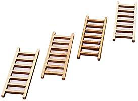 Kingus - Juego de 4 escaleras de Madera, Miniatura, para muñecas, Manualidades, Juguetes, Ornamentos: Amazon.es: Juguetes y juegos