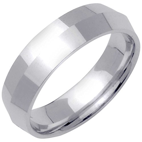 18K White Gold Traditional Knife Edge Men's Comfort Fit Wedding Band (6mm) Size-9.5c1 (Mens 18 Carat White Gold Wedding Rings)