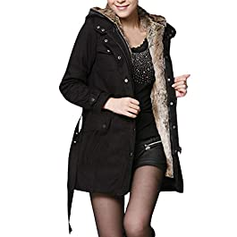 jerferr Womens Faux Fur Lining Coat Winter Warm Ski Thick Long Jacket Hooded Parka S-3XL Outercoat Black