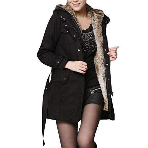Sttech1 Women's Wool Liner Windbreaker Long Section One Dress Three Wear Thick Coat Hooded Jacket (Trench Section)