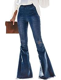 Women Destoryed Flare Jeans Elastic Waist Bell Bottom Raw Hem Denim Pants