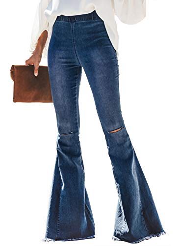 Sidefeel Women Destoryed Flare Jeans Elastic Waist Bell Bottom Tassel Denim Pants Small Sky Blue ()