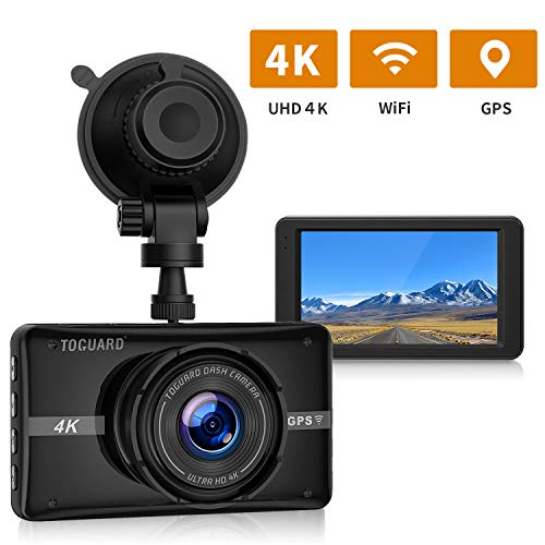 "TOGUARD 4K UHD Dash Cam Built-in GPS WiFi Dashboard Camera Recorder 3"" LCD 170° Wide Angle Car Dash Camera with Night Vision, 24Hs Parking Mode, G-Sensor, Time Lapse"
