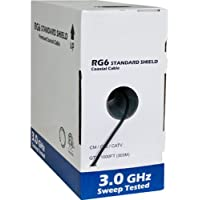 RG6 Standard Shield Bulk Coaxial Cable, Black, 1000ft, 75 Ohm, 18AWG, Solid CCS, AL Foil and 60% AL Braid, CM & CL2 Rated