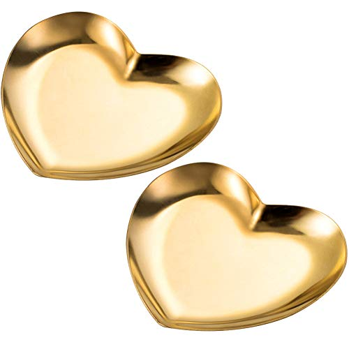(GLODEALS Stainless Steel Vanity Trays, Storage Tray Ring Dish Plate Tea Tray Cosmetics Jewelry Organizer Tray, Gold, Heart-Shaped (2 Pack))