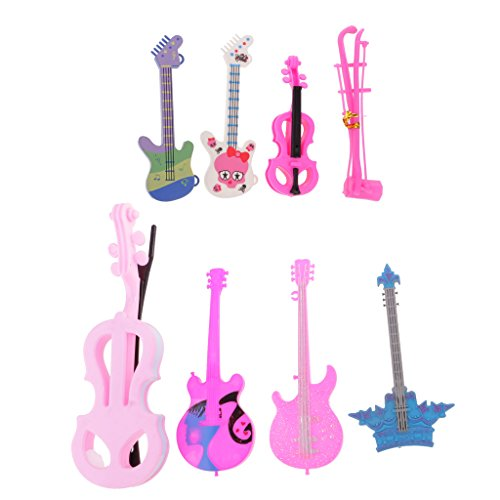 MonkeyJack 8pieces Fashion Musical Instruments Violin Guitar Erhu Cello for Barbies Ken 1/6 Doll Rock Band (Rock Bands Violin)