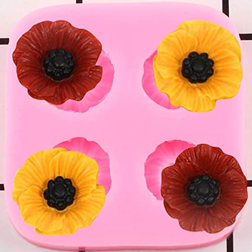DIY Poppy Flower Silicone Molds Cupcake Topper Fondant Cake Decorating Tools Jewelry Resin Molds Candy Chocolate Gumpaste Moulds