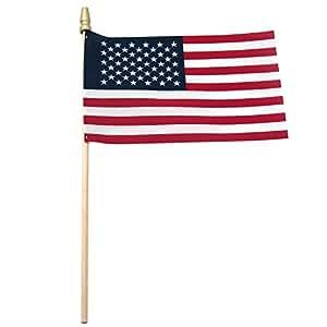 """Bandera de Estados Unidos Stick 4""""x 6"""" estándar con Spear punta"""