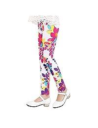 Weixinbuy 2-14 Years Girls Flower Feather Printed Comfy Leggings Pants