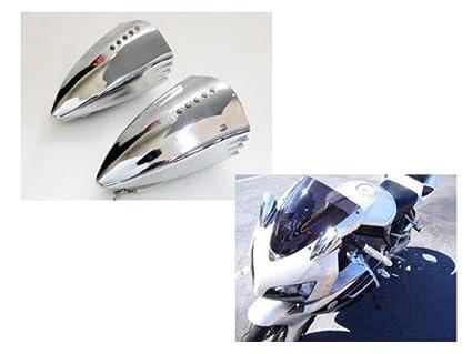 Cromo de la motocicleta LED Turn Signal Pig Spotter Espejo ...