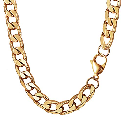 MING KUO 18K Faux Gold Chain Hip Hop Necklace, 90s Punk Style Necklace Costume Stainless Steel Jewelry (24 inches, 10mm) (Gold)]()