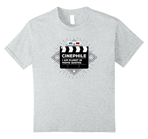 unisex-child Cinephile Fluent in Movie Quotes Movie Lovers Shirt 12 Heather Grey