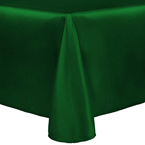 - Ultimate Textile -2 Pack- Reversible Shantung Satin - Majestic 108 x 156-Inch Oval Tablecloth, Emerald Green