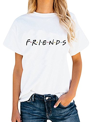 Friends TV Show Shirt Summer Graphic Tees Tops White L ()