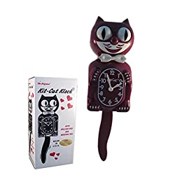 New Classic Vintage Kit-Cat Klock Limited Burgundy Cat Clock with Free Batteries Made in USA Official Dealer