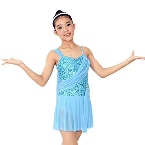 [MiDee Sequins Lyrical Dress Dance Wear Salsa Dance Dresses Ballroom Dress Dance Costumes (IC, Blue)] (Dance Costumes For Competition For Adults)