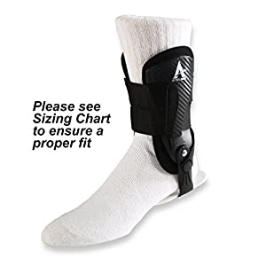 Active Ankle Volt Ankle Brace, Rigid Ankle Stabilizer for Protection & Sprain Support for Volleyball, Cheerleading, Football, Braces to Wear Over Compression Socks or Sleeves for Stability, Black, Medium