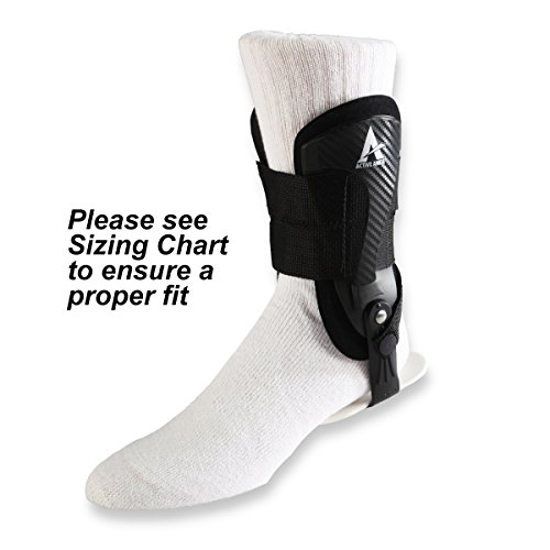 Active Ankle Volt Ankle Brace, Rigid Ankle Stabilizer for Protection & Sprain Support for Volleyball, Cheerleading, Football, Braces to Wear Over Compression Socks or Sleeves for Stability, Black, Small