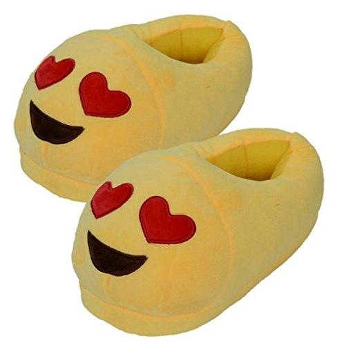Sannysis® Emoji Emoticon Zapatillas Cómodo Suela Térmica Vellocino Invierno (A) D