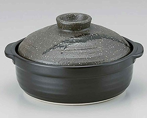 Ishime Suisei for 5-6 persons 13inch Donabe Japanese Hot pot Black Ceramic Made in Japan by Watou.asia