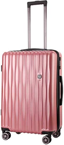 BRONCO POLO Suitcases with Wheels Carry on Luggage for Women Lightweight Hardshell with Spinner Wheels Built in TSA Lock-Rose Gold
